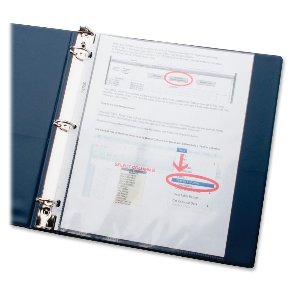 """Business Source Top-Loading Poly Sheet Protectors - 3.3 mil Thickness - For Letter 8 1/2"""" x 11"""" Sheet - Ring Binder - Rectangular - Clear - Poly - 100 / Box. Picture 2"""
