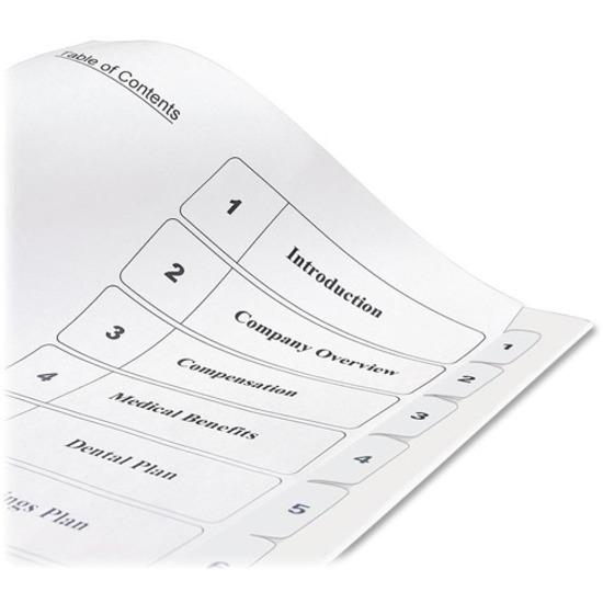 """Avery® Ready Index Classic Tab Binder Dividers - 10 x Divider(s) - 1-10, Table of Contents - 10 Tab(s)/Set - 8.5"""" Divider Width x 11"""" Divider Length - 3 Hole Punched - White Paper Divider - White . Picture 3"""