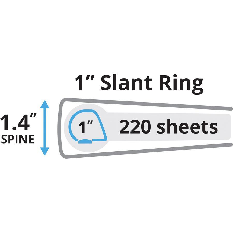 "Avery® Durable View 3 Ring Binder - 1"" Binder Capacity - Letter - 8 1/2"" x 11"" Sheet Size - 250 Sheet Capacity - 3 x Slant Ring Fastener(s) - 2 Internal Pocket(s) - Polypropylene - Black - Recycle. Picture 2"
