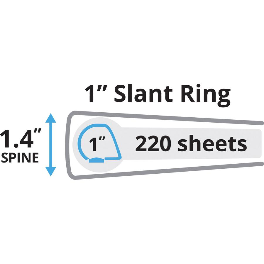 "Avery® Durable Binder - DuraHinge - 1"" Binder Capacity - Letter - 8 1/2"" x 11"" Sheet Size - 220 Sheet Capacity - 3 x Slant D-Ring Fastener(s) - 2 Internal Pocket(s) - Black - Recycled - Gap-free R. Picture 3"