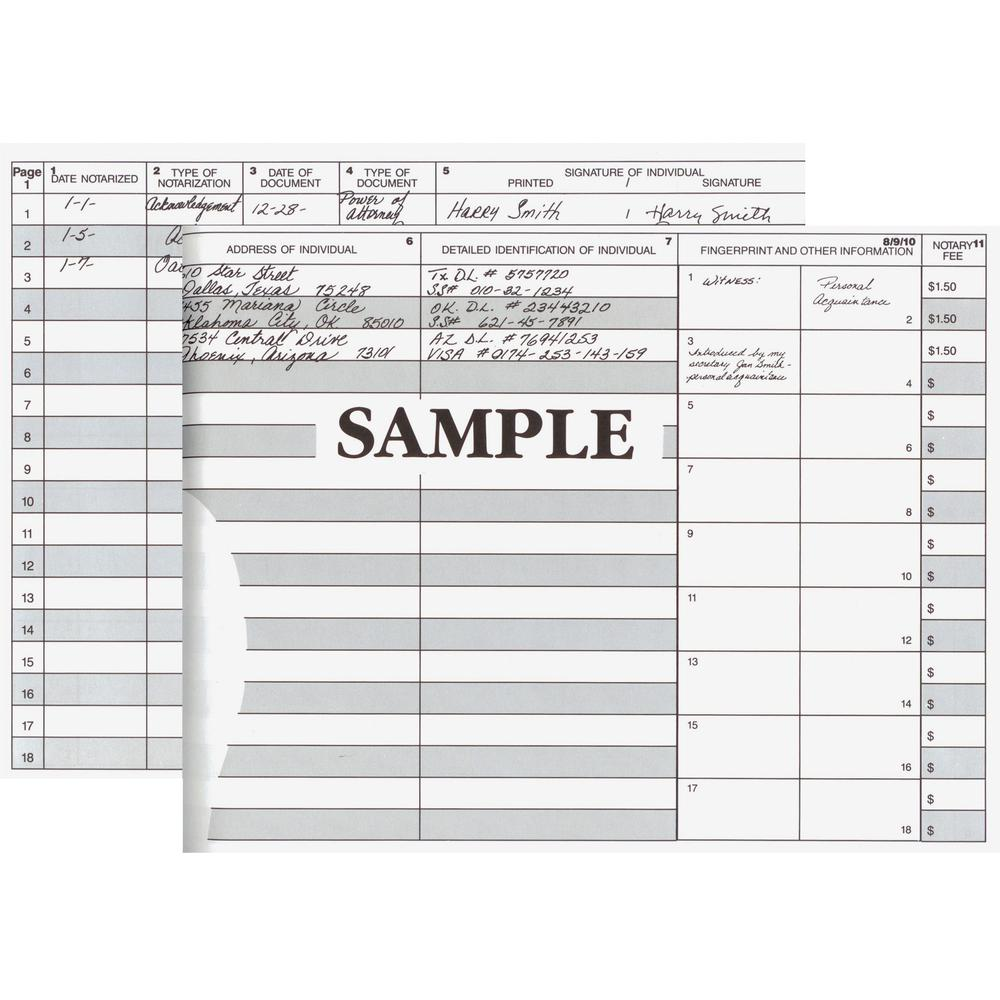 """Dome Notary Public Book - 64 Sheet(s) - Thread Sewn - 10 1/2"""" x 8 1/4"""" Sheet Size - 10 Columns per Sheet - Burgundy - White Sheet(s) - Maroon Cover - Recycled - 1 Each. Picture 3"""
