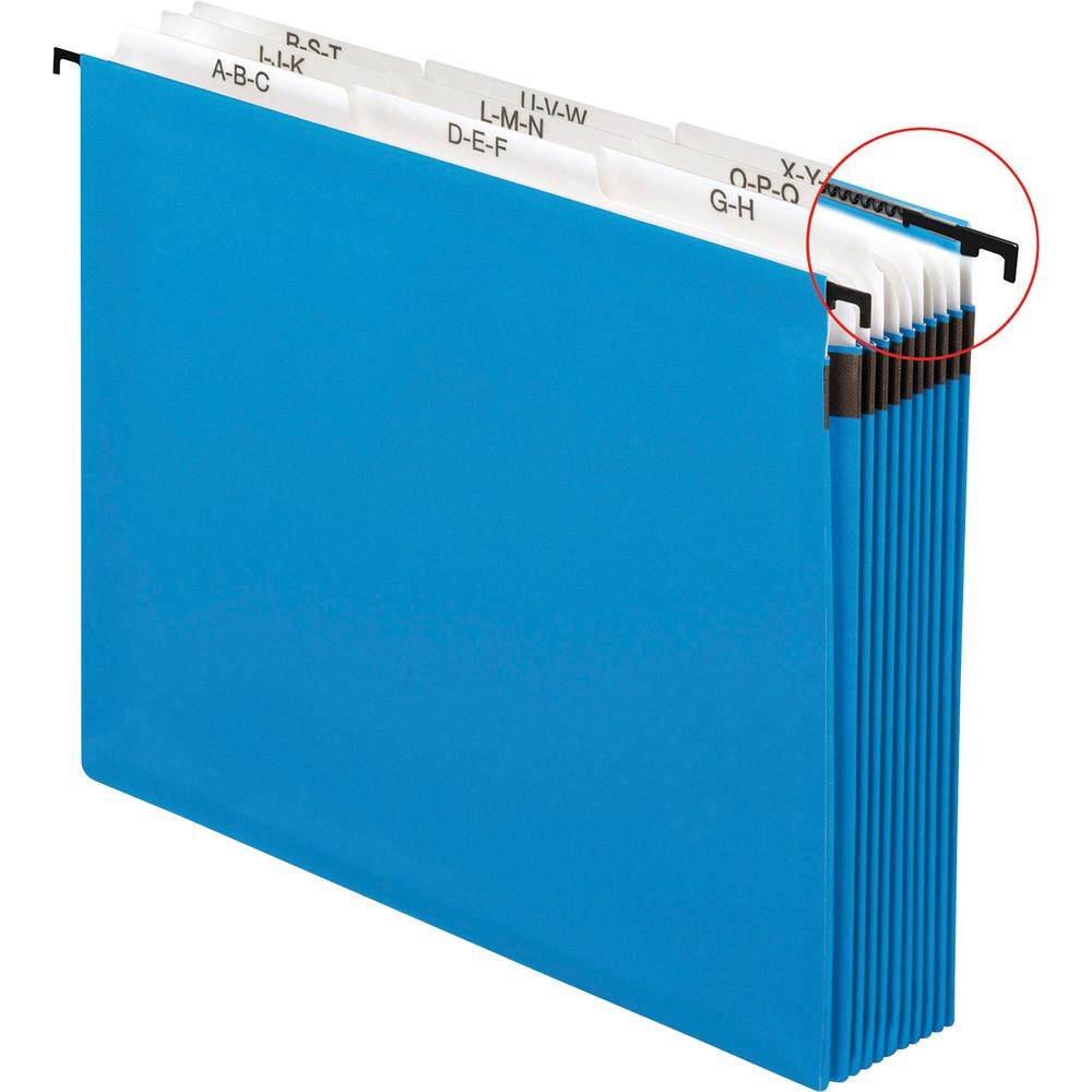 """Pendaflex 9-divider A-Z SureHook Hanging File - Letter - 8 1/2"""" x 11"""" Sheet Size - 11 pt. Folder Thickness - Paper Stock - Blue - 12.80 oz - Recycled - 1 Each. Picture 2"""