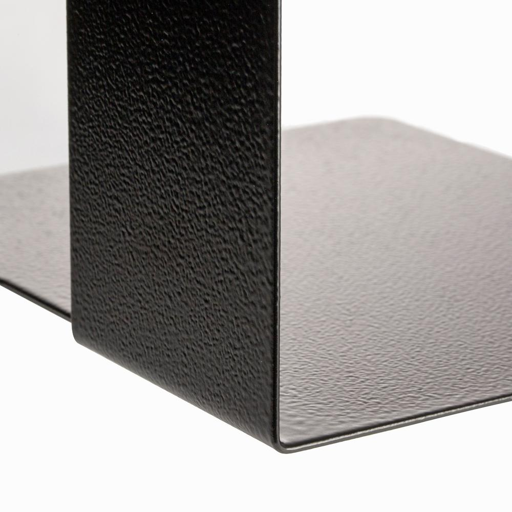 """OIC Steel Construction Heavy-Duty Bookends - 10"""" Height - Desktop - Non-skid Base, Chip Resistant, Non-slip, Scratch Resistant - Black - Steel - 2 / Pair. Picture 2"""