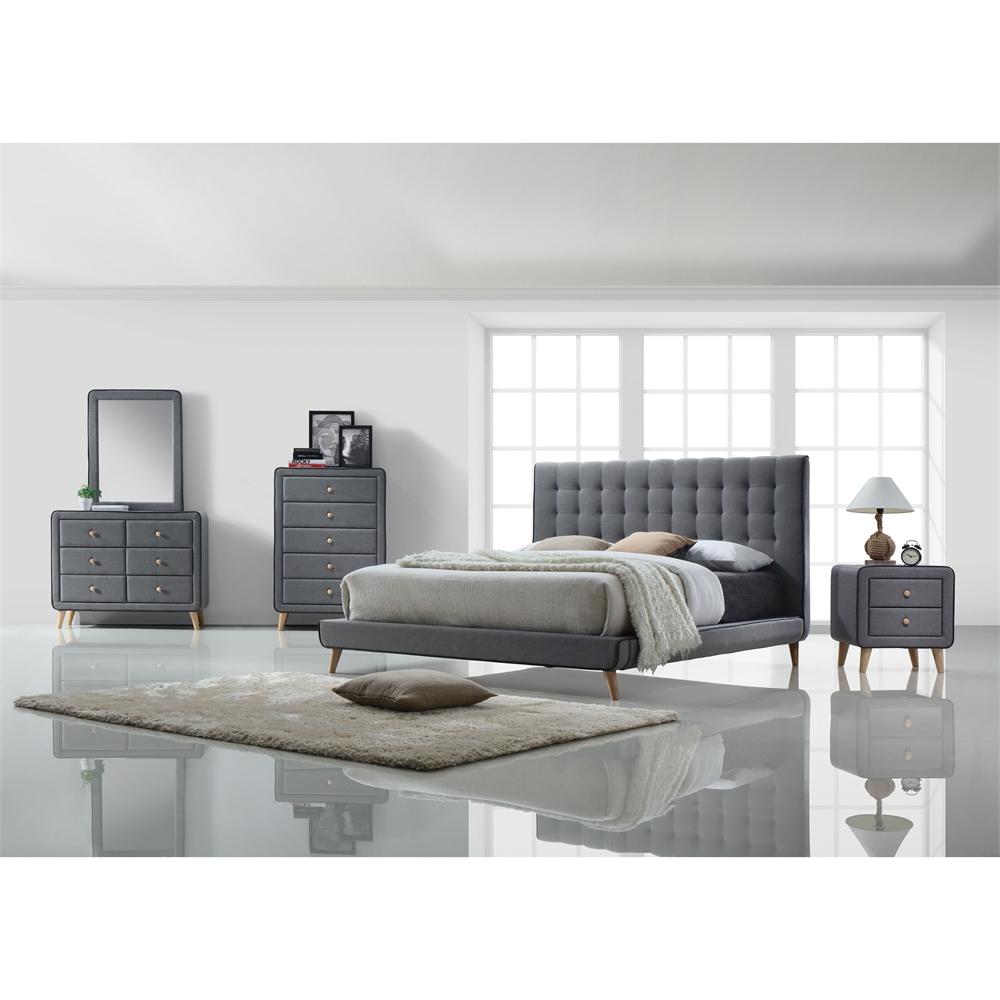 Valda Eastern King Bed, Light Gray Fabric (1Set/3Ctn). Picture 1