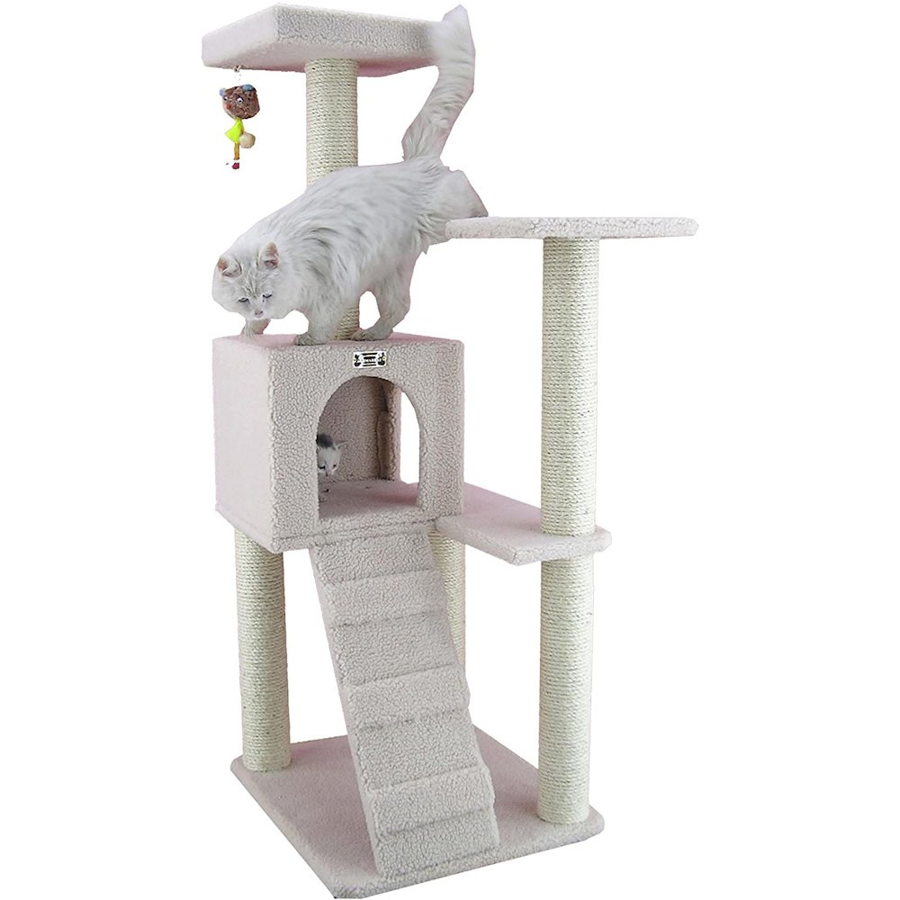 Armarkat Model B5301 53-Inch Classic Cat Tree in Ivory with Ramp, Perch, Condo, Jackson Galaxy Approved. Picture 2