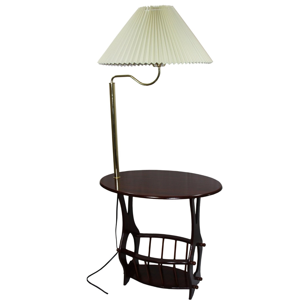 Brass Floor Lamp End Table Magazine Rack Combination. Picture 1