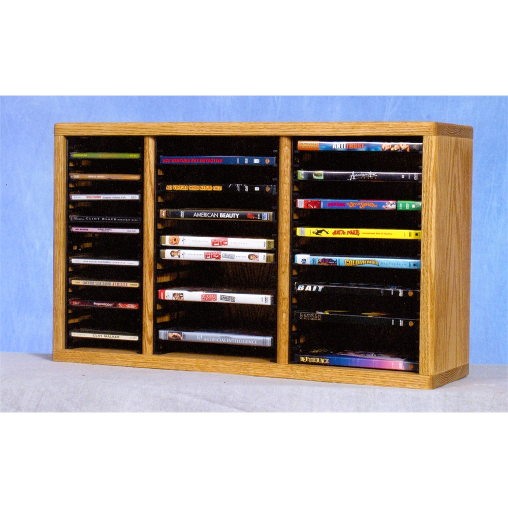 Solid Oak desktop or shelf for CD's and DVD's (Individual Locking Slots). Picture 1