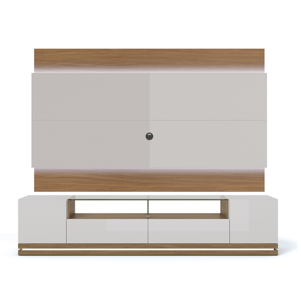 vanderbilt tv stand and lincoln 2 2 floating wall tv panel with led lights in off white. Black Bedroom Furniture Sets. Home Design Ideas