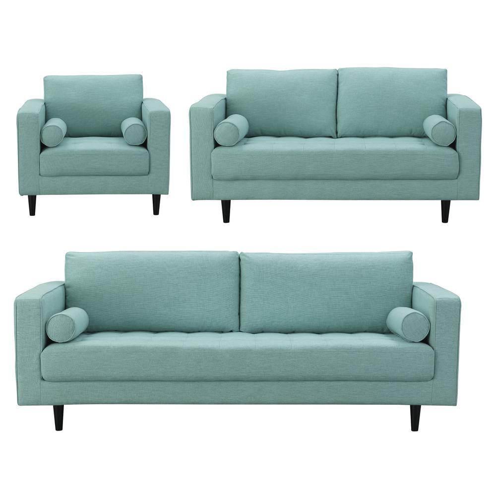 Arthur 3 Piece Mint Green Blue Tweed Sofa Loveseat And