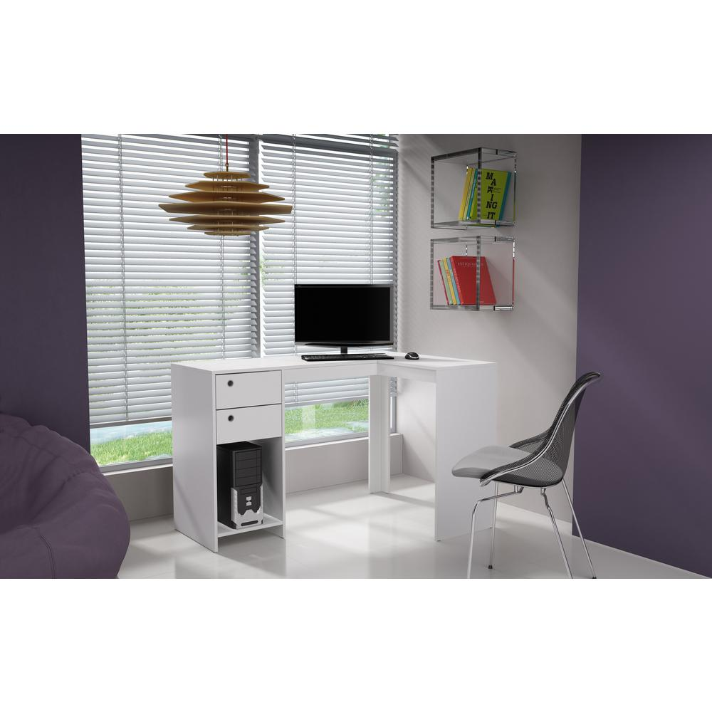 Palermo Classic L Desk With 2 Drawers And 1 Cubby In White