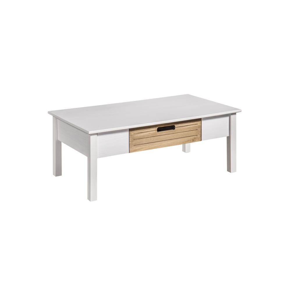 Mid-Century Modern-Rustic Irving Coffee Table In White And