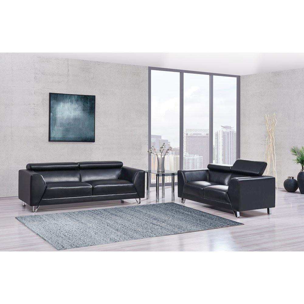 Global Furniture Loveseat Pluto Black With Ratchet Headrest 68x36x37