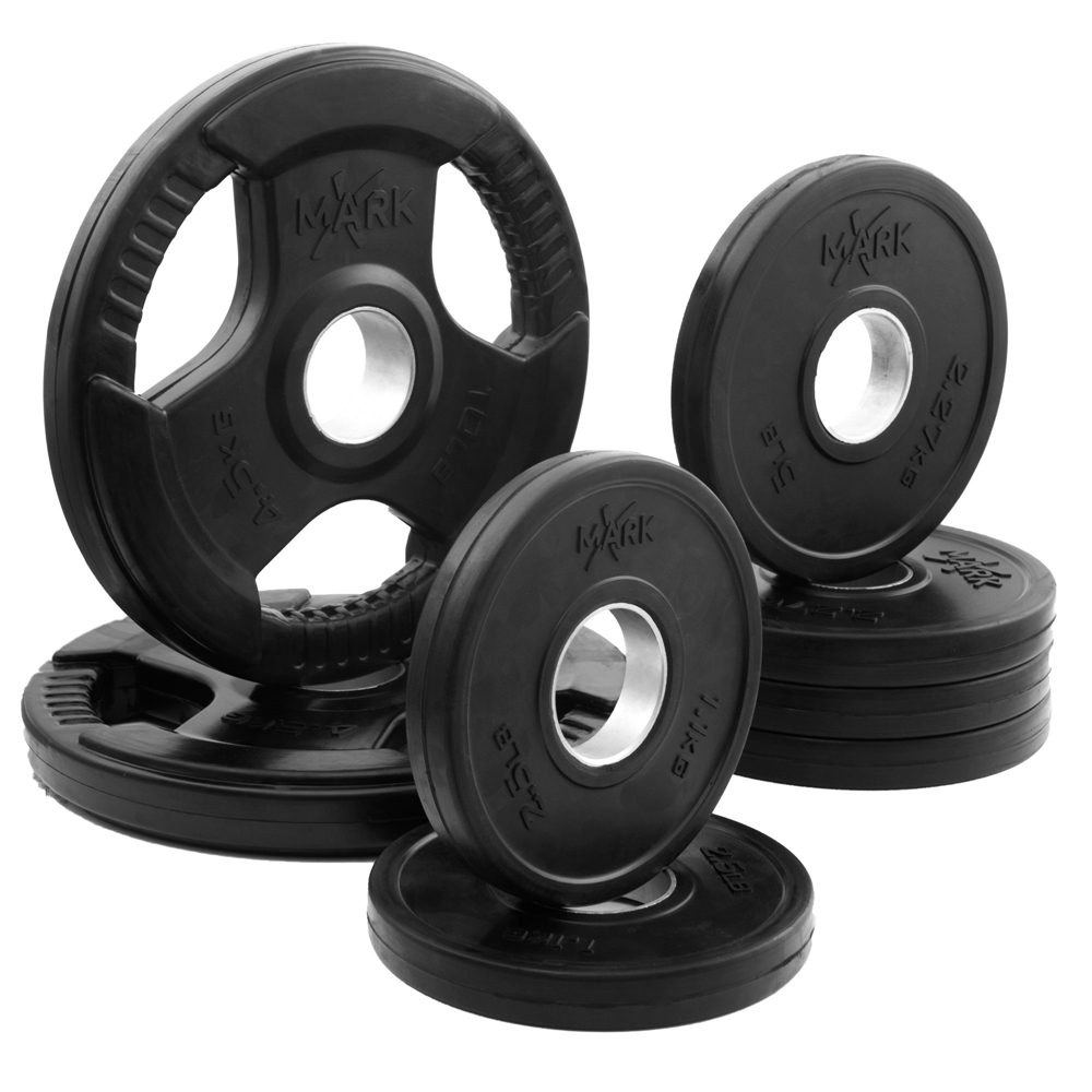 Rubber Coated Tri Grip Olympic Plate Weight Package Xm