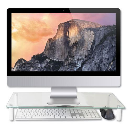 """Glass Monitor Riser, 22"""" x 8.25"""" x 3.25"""", Clear, Supports 40 lbs. Picture 1"""