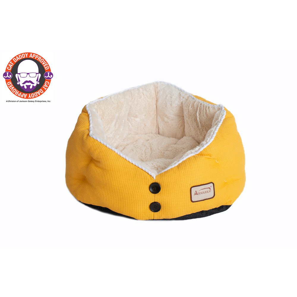 Armarkat Cat Bed Model C75HMB/MH Gold Waffle and White. Picture 2