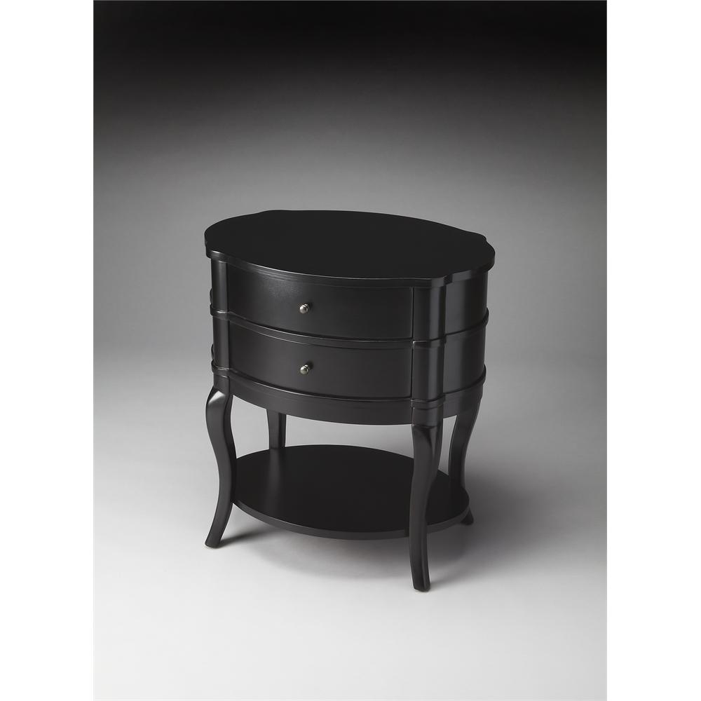 Jarvis Black Licorice Oval Side Table Black Licorice