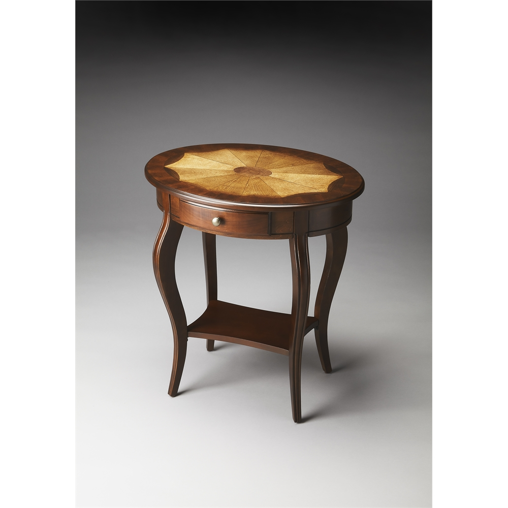 - Jeanette Plantation Cherry Oval Accent Table, Plantation Cherry
