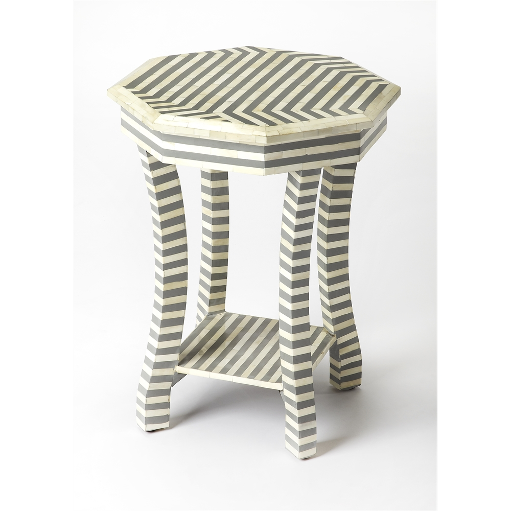White And Gray Bone Inlay Accent Table: Gabin Gray Bone Inlay Accent Table, Gray Bone Inlay
