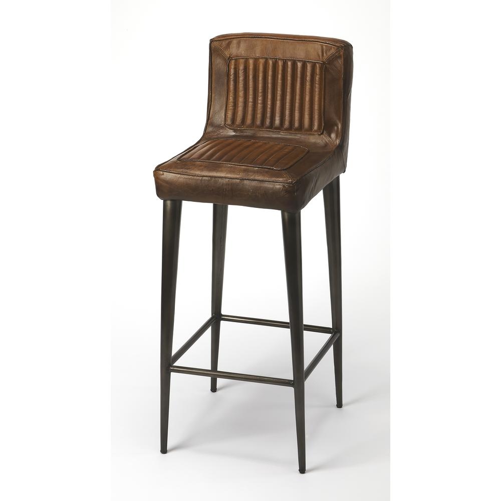 Maxwell Leather Bar Stool. Picture 1