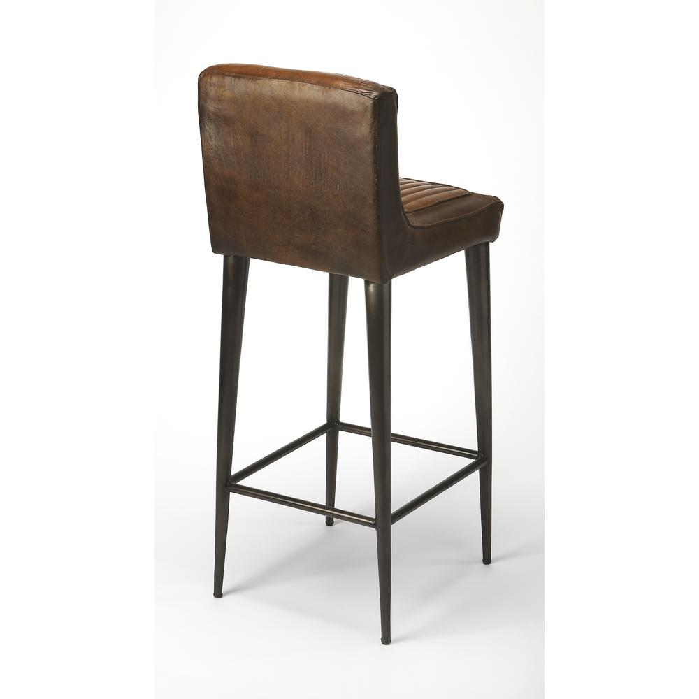 Maxwell Leather Bar Stool. Picture 2