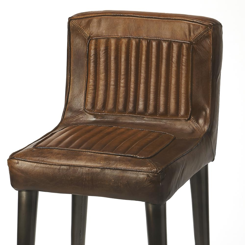 Maxwell Leather Bar Stool. Picture 3