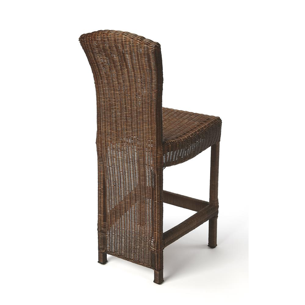 Andros Chocolate Rattan Counter Stool. Picture 2