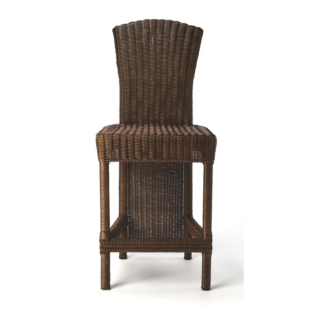 Andros Chocolate Rattan Counter Stool. Picture 3