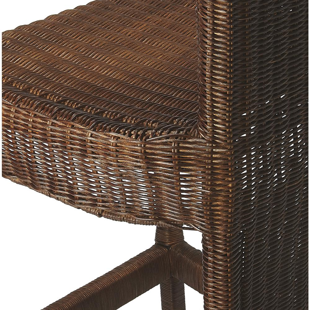 Andros Chocolate Rattan Counter Stool. Picture 5