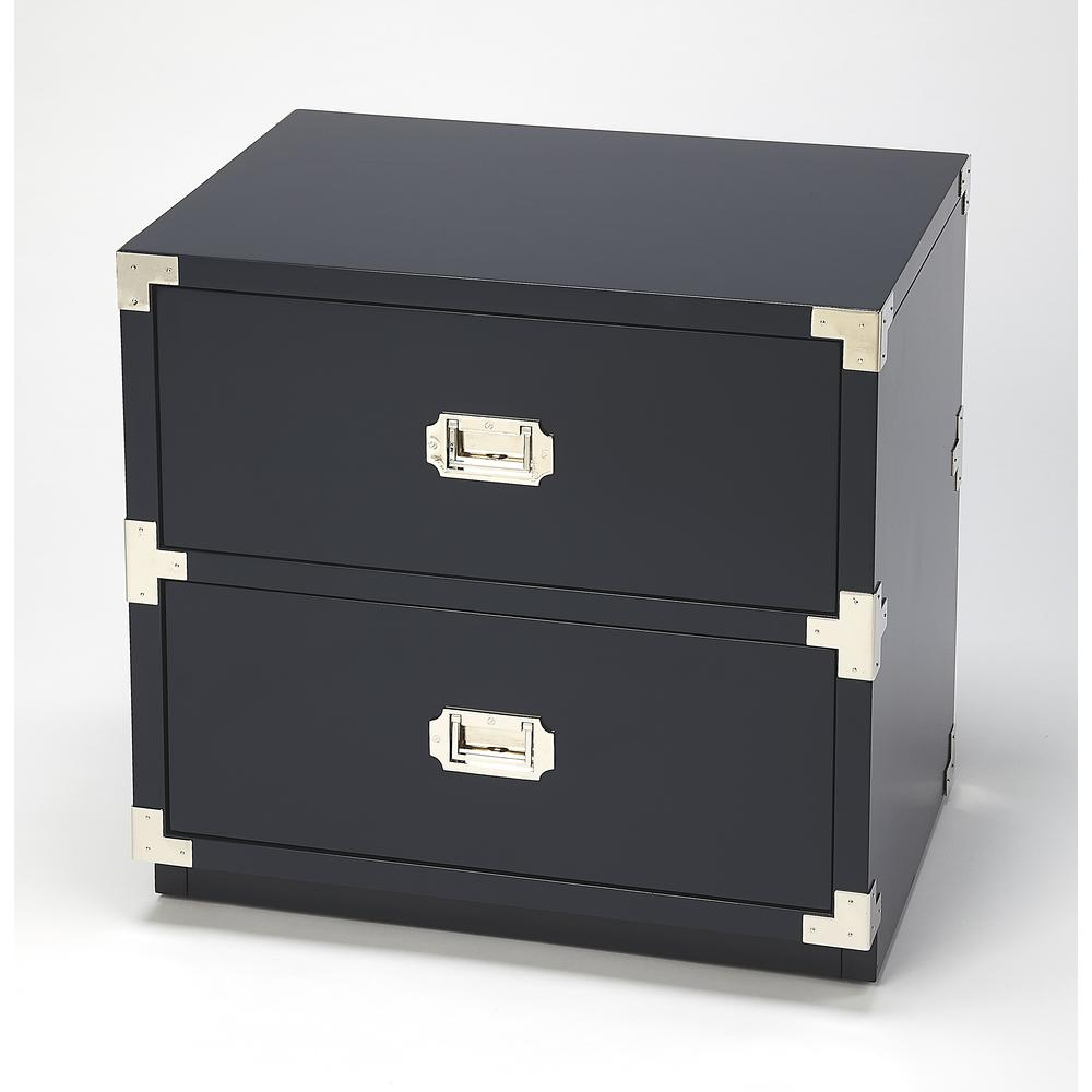 Anew Blue 2 Drawer Campaign Chest. Picture 1