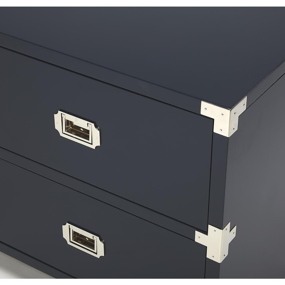 Anew Blue 2 Drawer Campaign Chest. Picture 4
