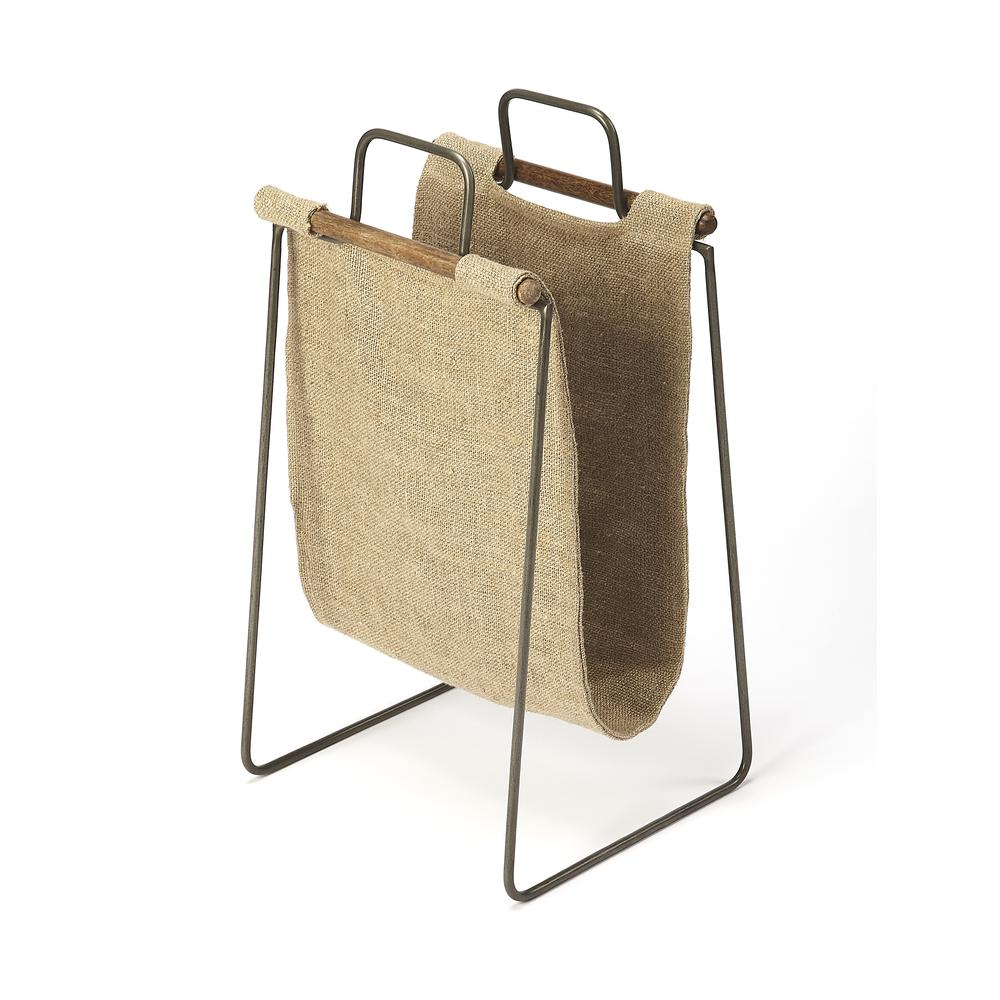 Butler Idaho Burlap & Metal Magazine Basket. Picture 1