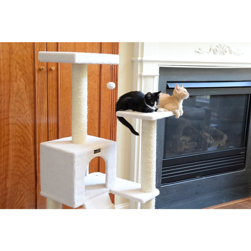 Armarkat Model B5301 53-Inch Classic Cat Tree in Ivory with Ramp, Perch, Condo, Jackson Galaxy Approved. Picture 7