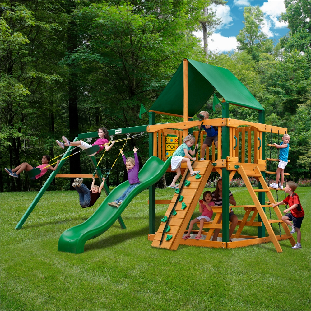 Maintenance Free Vinyl Outdoor Playsets: Chateau Swing Set W/ Timber Shield And Deluxe Green Vinyl