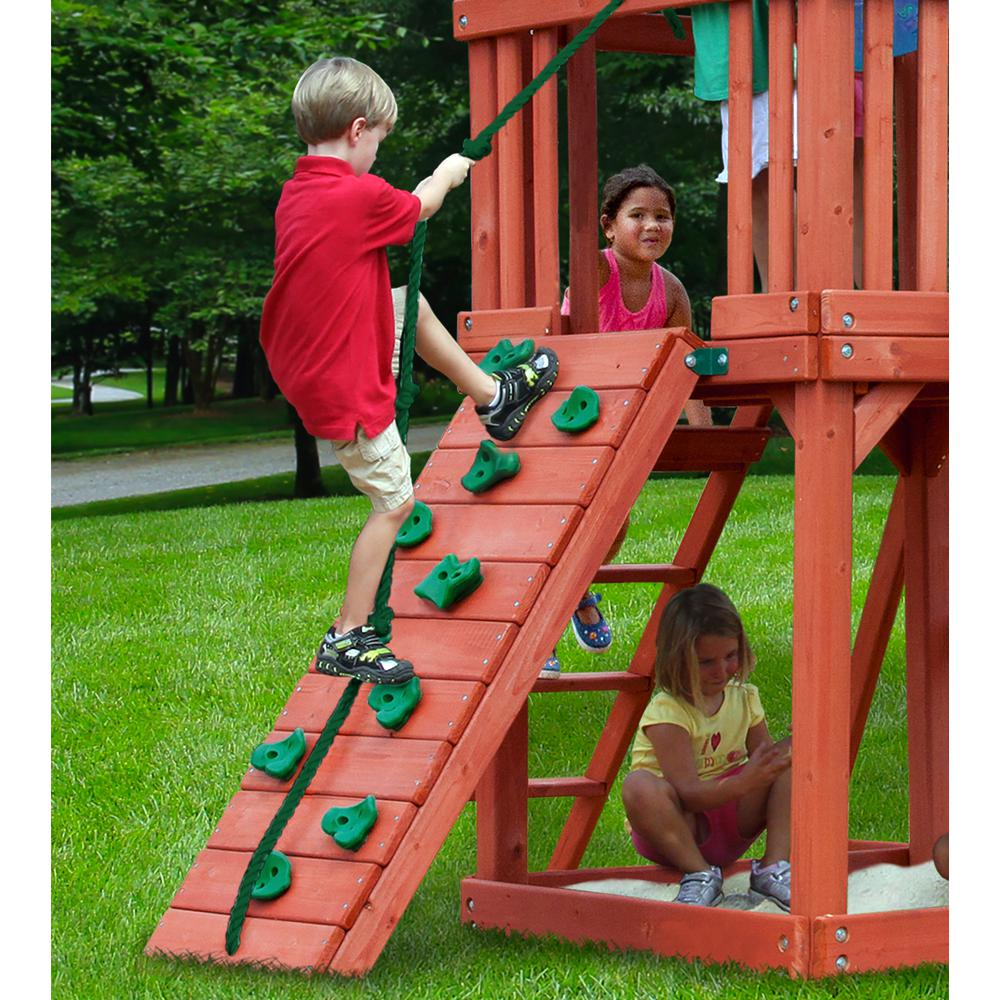 Five Star II Wooden Swing Set with Rock Climbing Wall, 2 Belt Swings, and Trapeze Bar