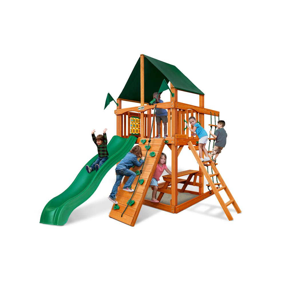 Chateau Tower Swing Set W Amber Posts