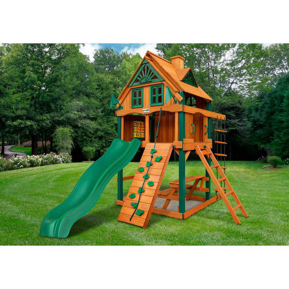 chateau tower treehouse swing set w fort add on timber shield. Black Bedroom Furniture Sets. Home Design Ideas