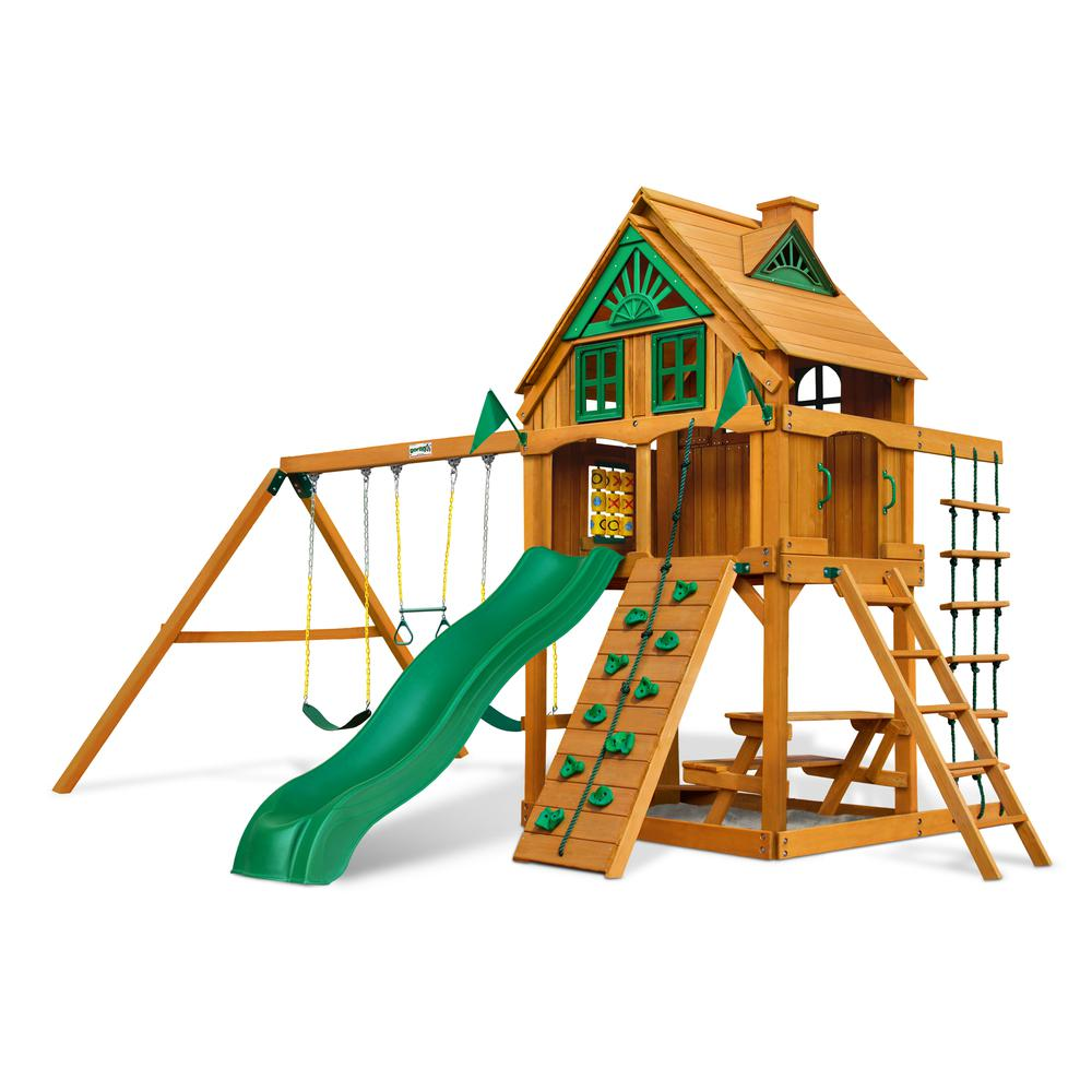chateau treehouse swing set w fort add on amber posts. Black Bedroom Furniture Sets. Home Design Ideas
