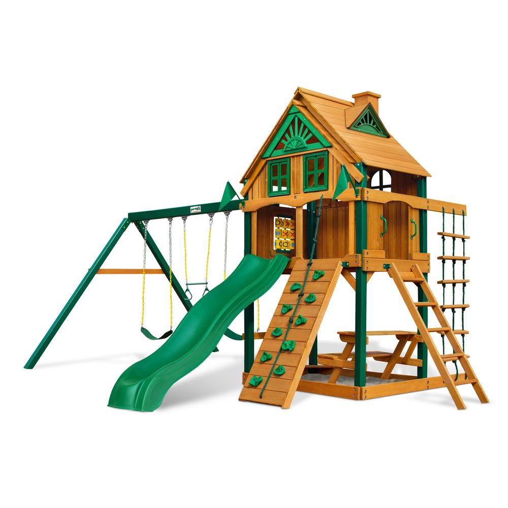 chateau treehouse swing set w fort add on timber shield. Black Bedroom Furniture Sets. Home Design Ideas