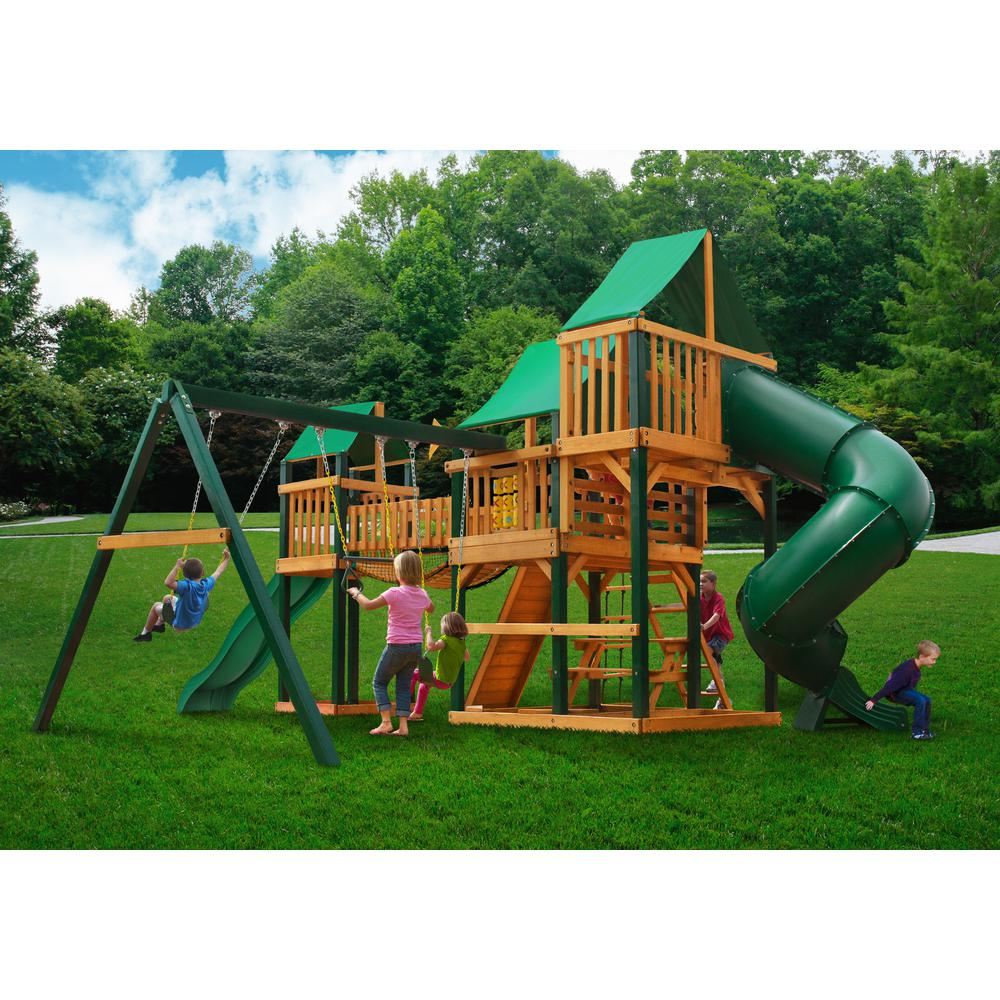 Treasure Trove Swing Set W Timber Shield And Deluxe Green