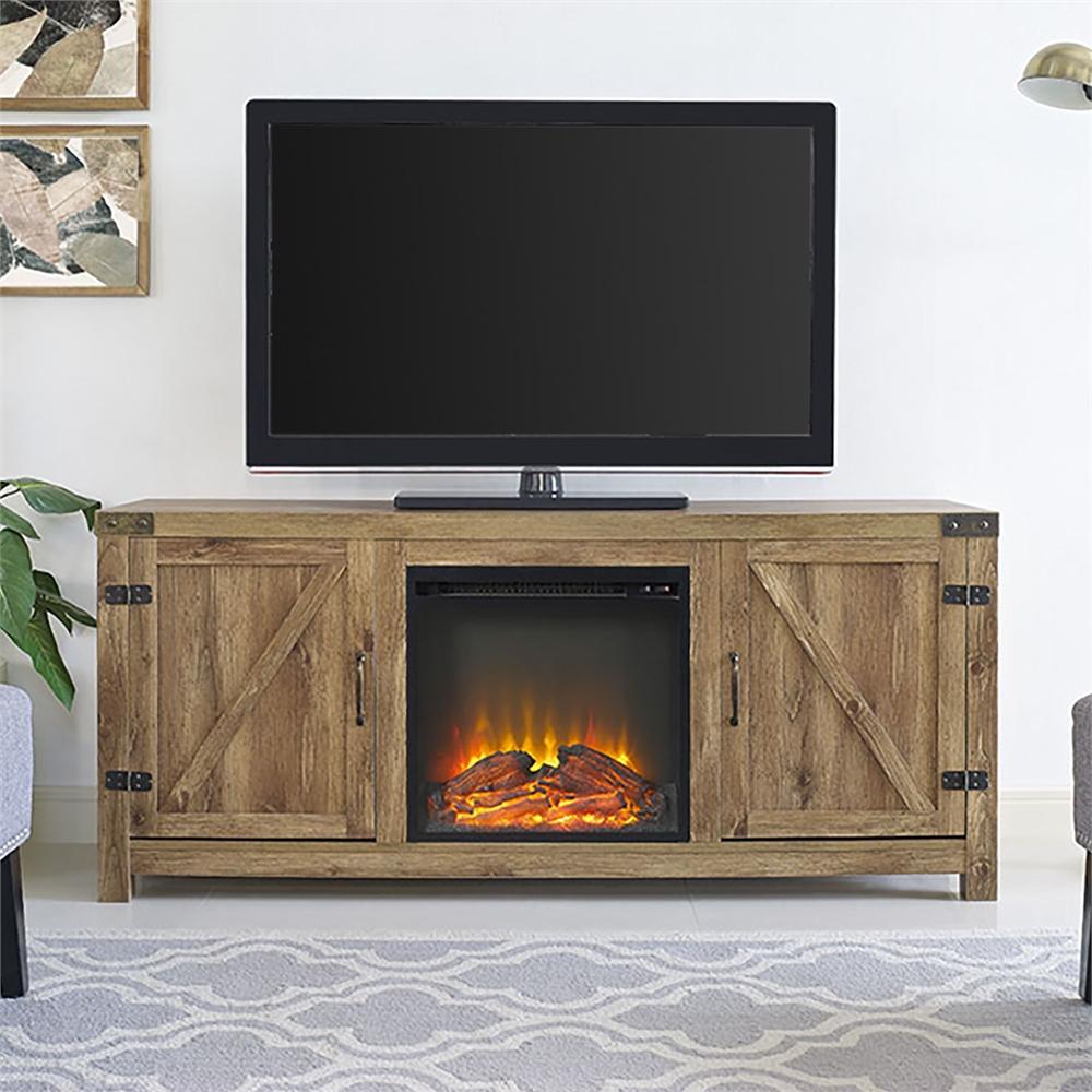 58 Quot Barn Door Fireplace Tv Stand Barnwood