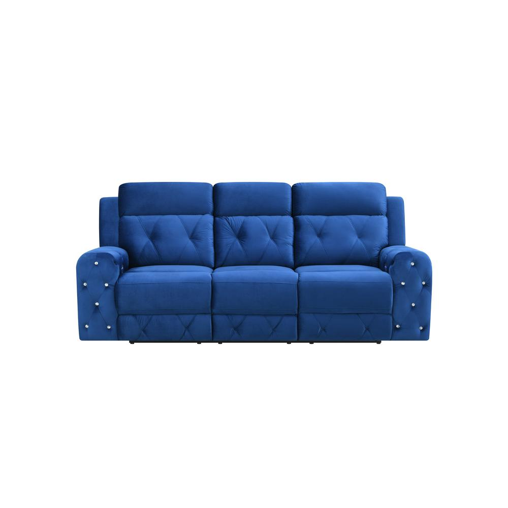 U8311-Blue Velvet-Prs, Power Reclining Sofa Blue Velvet (Hlr-64). Picture 1