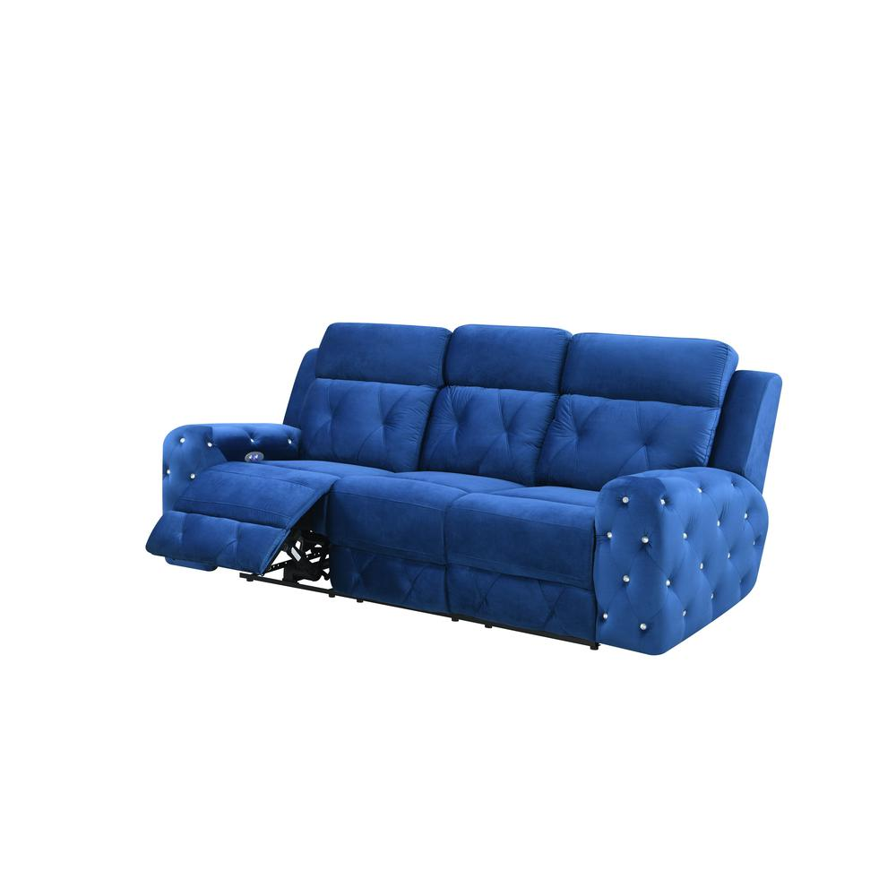 U8311-Blue Velvet-Prs, Power Reclining Sofa Blue Velvet (Hlr-64). Picture 2