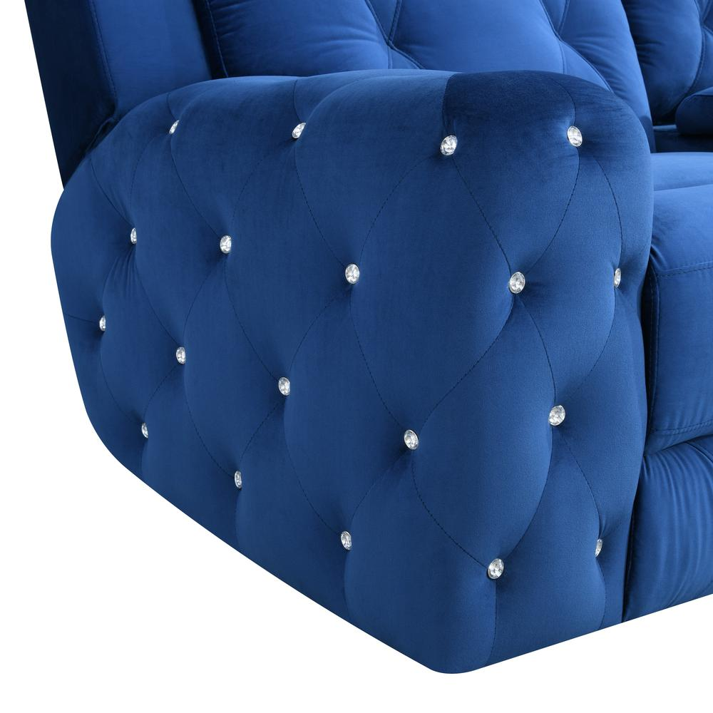 U8311-Blue Velvet-Prs, Power Reclining Sofa Blue Velvet (Hlr-64). Picture 3