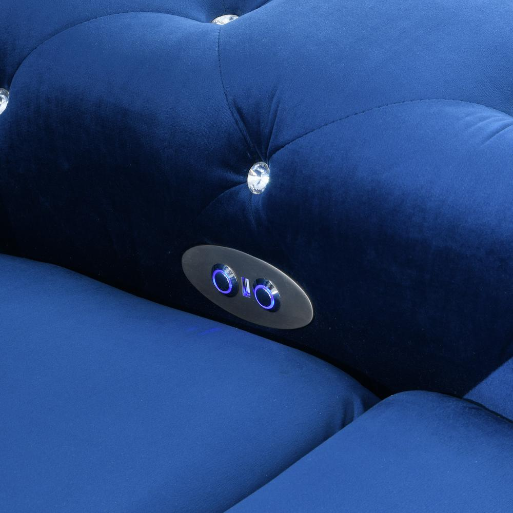 U8311-Blue Velvet-Prs, Power Reclining Sofa Blue Velvet (Hlr-64). Picture 4