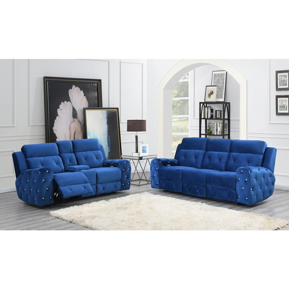 U8311-Blue Velvet-Prs, Power Reclining Sofa Blue Velvet (Hlr-64). Picture 5