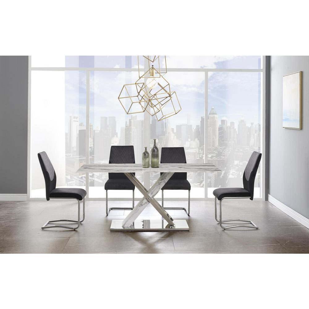 D1274Dt, Dining Table White & Grey. Picture 1