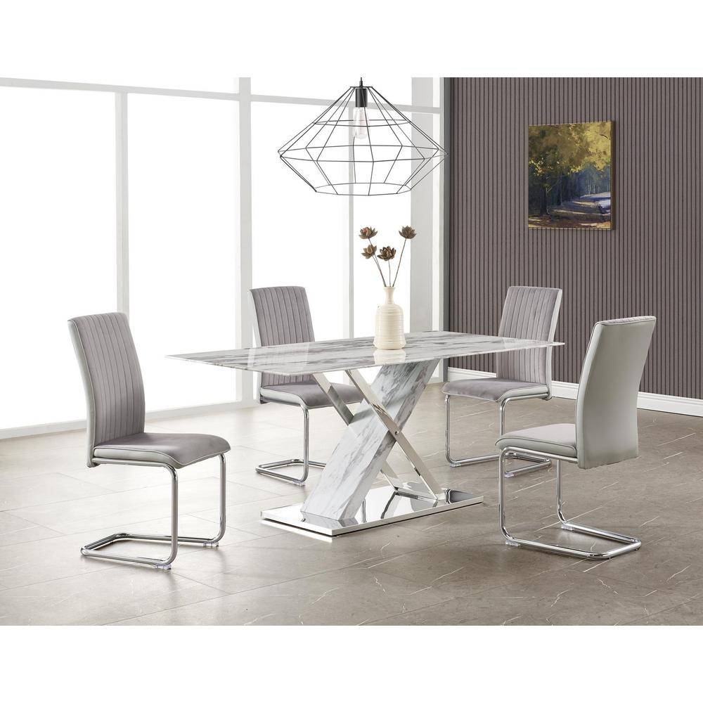 D1274Dt, Dining Table White & Grey. Picture 2