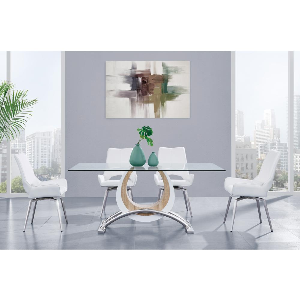 Bucket Seat Swivel Style White Dining Chair 22x25x37 Inch White. Picture 6