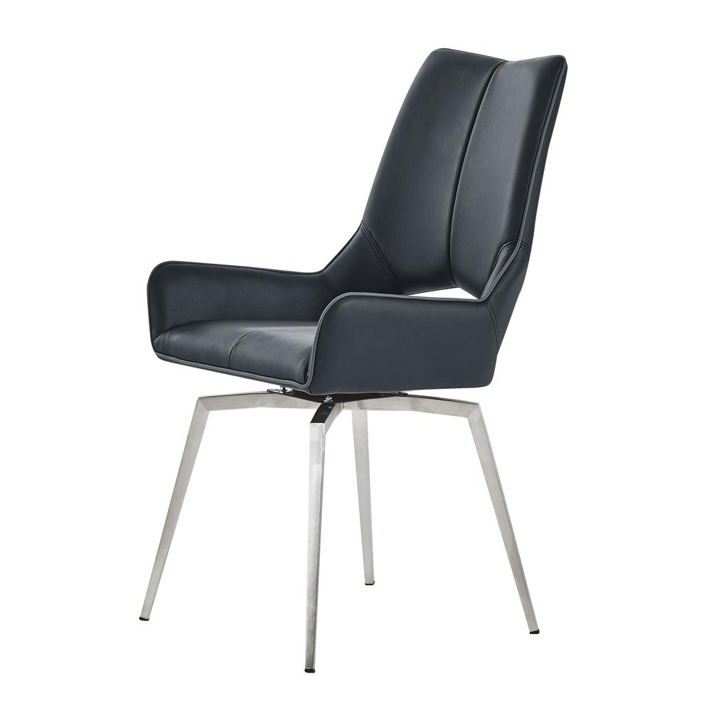 Bucket Seat Swivel Style Black Dining Chair 22x25x37 Inch Black. Picture 1