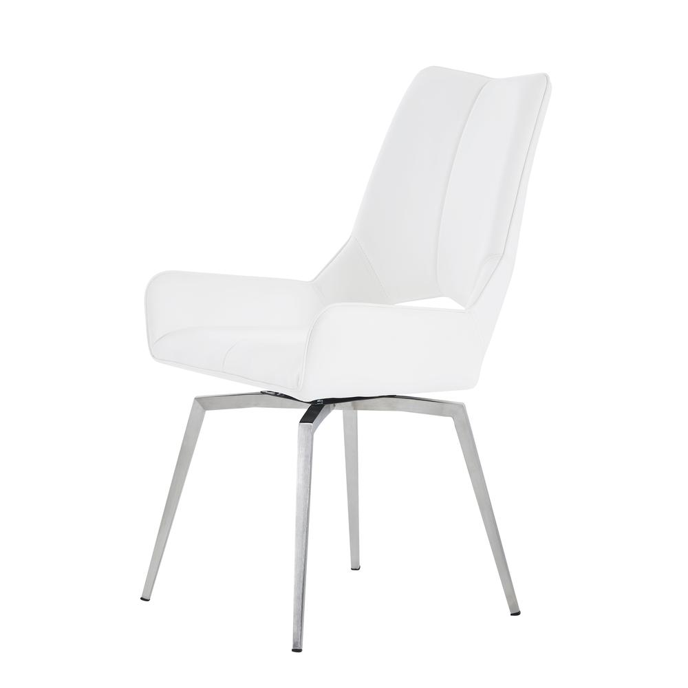 Bucket Seat Swivel Style White Dining Chair 22x25x37 Inch White. Picture 1